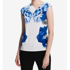 Calvin Klein Floral Asymetrical Pleated Neckline